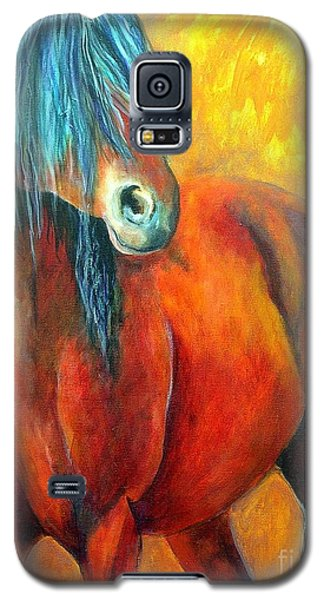 Galaxy S5 Case featuring the painting Stallions Concerto  by Alison Caltrider