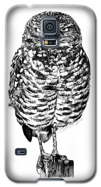 Galaxy S5 Case featuring the drawing 041 - Owl With Attitude by Abbey Noelle