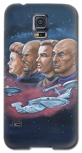 Galaxy S5 Case featuring the painting Star Trek Tribute Captains by Bryan Bustard