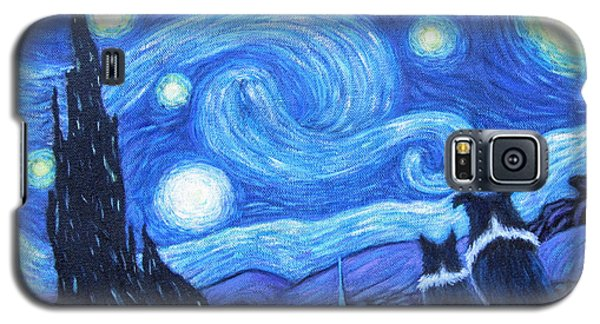 Galaxy S5 Case featuring the painting Starry Night Border Collies by Fran Brooks
