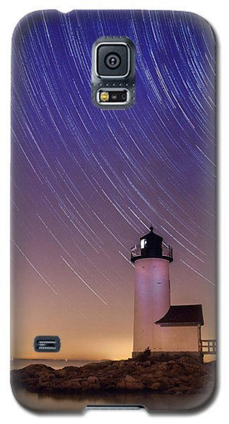 Galaxy S5 Case featuring the photograph Stars Trailing Over Lighthouse by Jeff Folger