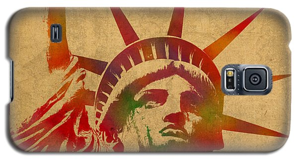 Statue Of Liberty Watercolor Portrait No 2 Galaxy S5 Case by Design Turnpike