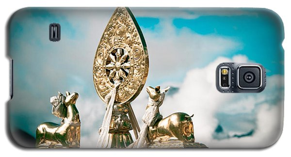 Stautes Of Deer And Golden Dharma Wheel Galaxy S5 Case