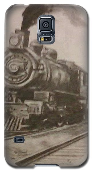 Galaxy S5 Case featuring the drawing Steam Locomotive by Thomasina Durkay