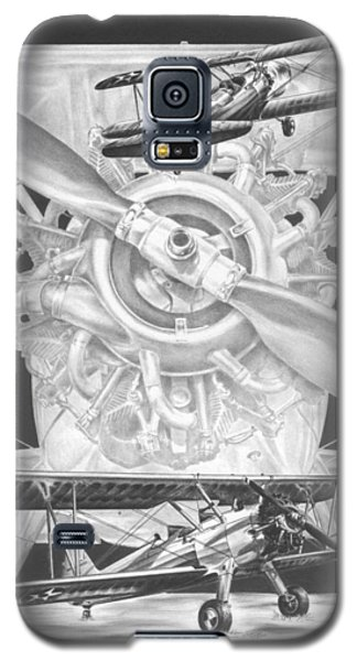 Galaxy S5 Case featuring the drawing Stearman - Vintage Biplane Aviation Art by Kelli Swan