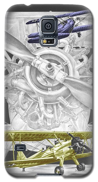 Galaxy S5 Case featuring the drawing Stearman - Vintage Biplane Aviation Art With Color by Kelli Swan