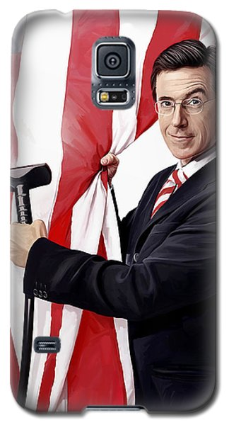 Galaxy S5 Case featuring the painting Stephen Colbert Artwork by Sheraz A