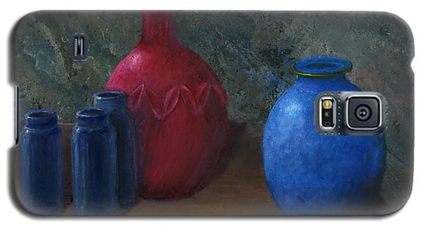 Still Life Art Blue And Red Jugs And Bottles Galaxy S5 Case