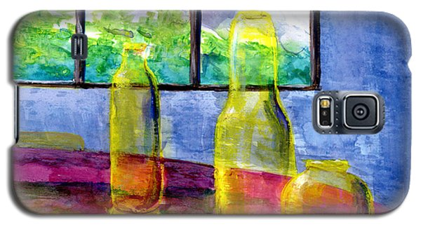 Still Life Art Bright Yellow Bottles And Blue Wall Galaxy S5 Case