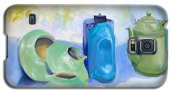 Galaxy S5 Case featuring the painting Still Life In Blue And Green Pottery by Greta Corens