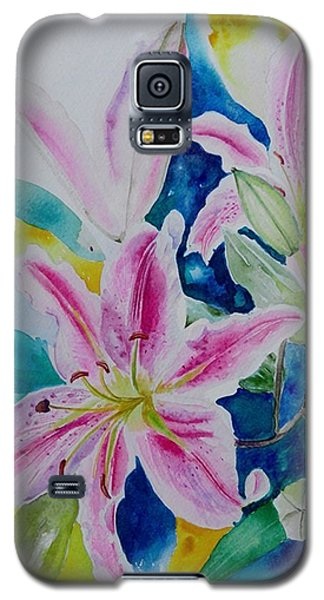 Galaxy S5 Case featuring the painting Still Life Lilies by Geeta Biswas