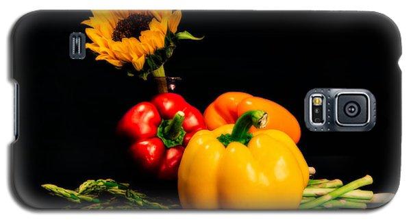 Still Life Peppers Asparagus Sunflower Galaxy S5 Case by Jon Woodhams