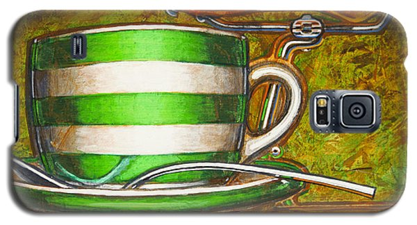 Galaxy S5 Case featuring the painting Still Life With Green Stripes And Saddle  by Mark Howard Jones