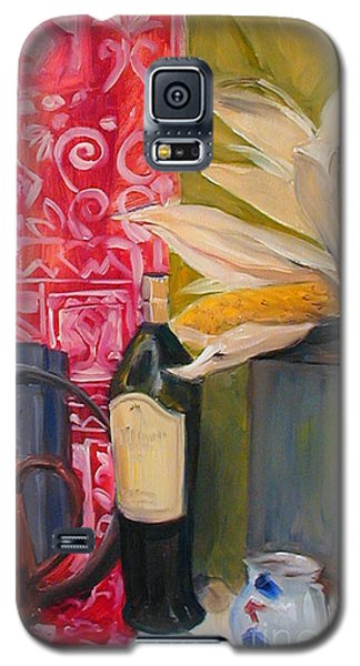 Galaxy S5 Case featuring the painting Still Life With Red Cloth And Pottery by Greta Corens