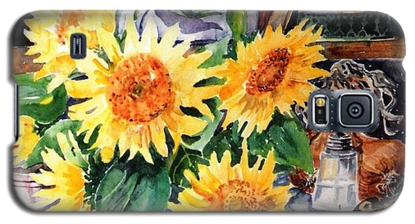 Galaxy S5 Case featuring the painting Still Life With Sunflowers  by Trudi Doyle