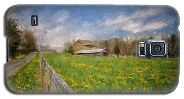 Galaxy S5 Case featuring the photograph Stone Barn On A Spring Morning by Lois Bryan