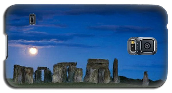 Galaxy S5 Case featuring the painting Stonehenge At Night by Bruce Nutting
