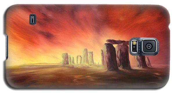 Galaxy S5 Case featuring the painting Stonehenge In Wiltshire by Jean Walker
