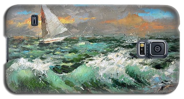 Galaxy S5 Case featuring the painting Storm Broke Out by Dmitry Spiros