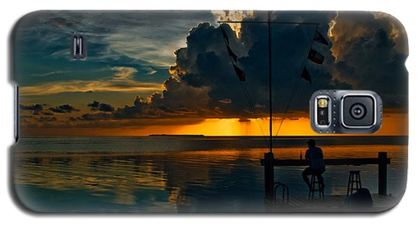 Sunset Tropical Storm And Watcher In Florida Keys Galaxy S5 Case
