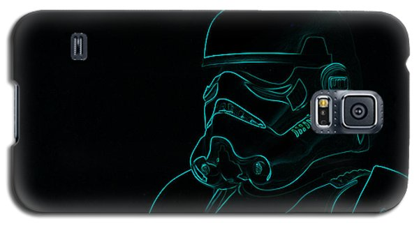 Galaxy S5 Case featuring the digital art Stormtrooper In Teal by Chris Thomas