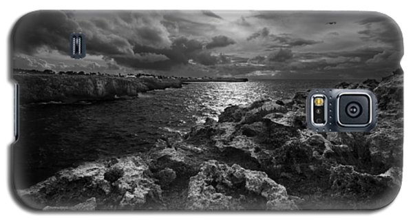 Blank And White Stormy Mediterranean Sunrise In Contrast With Black Rocks And Cliffs In Menorca  Galaxy S5 Case by Pedro Cardona