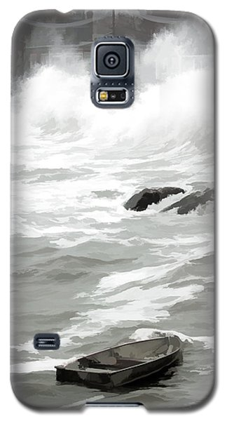 Galaxy S5 Case featuring the photograph Stormy Waves Pound The Shoreline by Jeff Folger