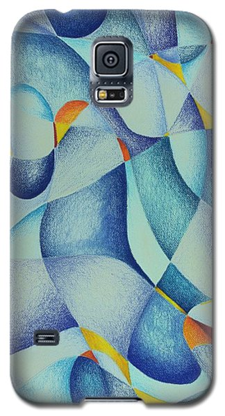 Galaxy S5 Case featuring the drawing Strangest Color Blue by Rick Ahlvers