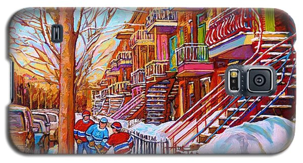 Street Hockey Game In Montreal Winter Scene With Winding Staircases Painting By Carole Spandau Galaxy S5 Case