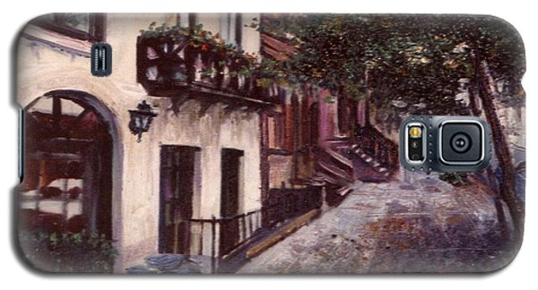 Galaxy S5 Case featuring the painting street in the Village NYC by Walter Casaravilla