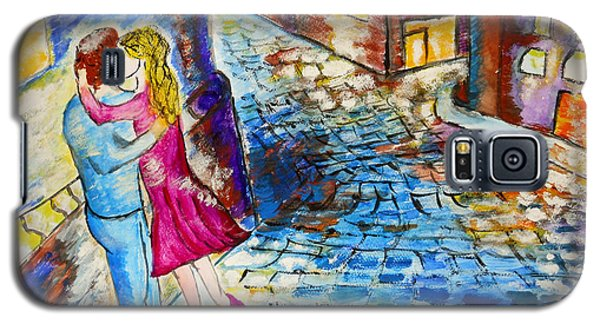Galaxy S5 Case featuring the painting Street Kiss By Night  by Ramona Matei