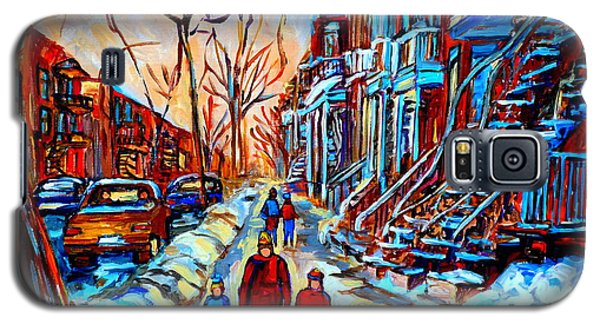 Galaxy S5 Case featuring the painting Streets Of Montreal by Carole Spandau