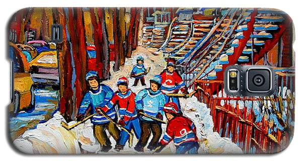 Streets Of Verdun Hockey Art Montreal Street Scene With Outdoor Winding Staircases Galaxy S5 Case
