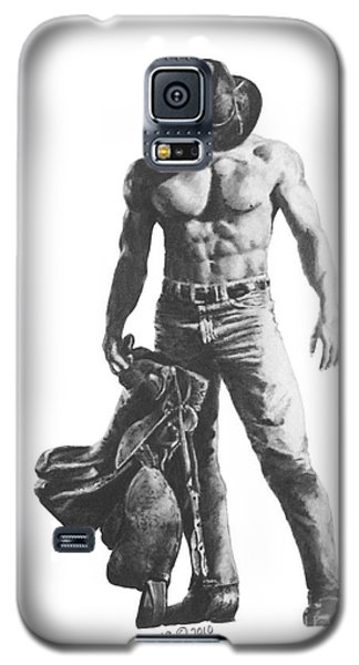Galaxy S5 Case featuring the drawing Strength Of A Cowboy by Marianne NANA Betts