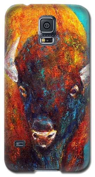 Galaxy S5 Case featuring the painting Strength Of The Bison Facial by Jennifer Godshalk