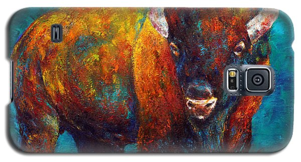 Galaxy S5 Case featuring the painting Strength Of The Bison by Jennifer Godshalk