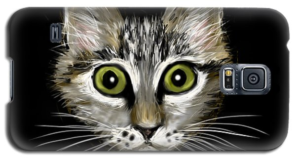 Galaxy S5 Case featuring the painting Strengthening Cat by Jean Pacheco Ravinski