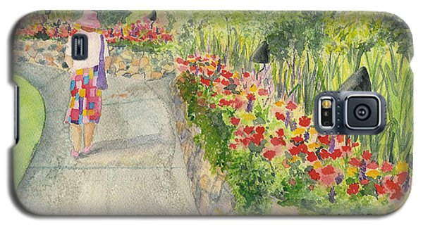 Galaxy S5 Case featuring the painting Strolling Butchart Gardens by Vicki  Housel