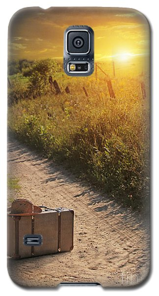 Suitcase With Hat On Road At Sunset Galaxy S5 Case