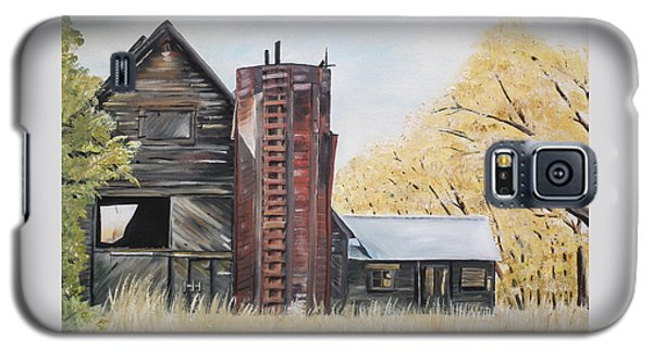 Galaxy S5 Case featuring the painting Golden Aged Barn -washington - Red Silo  by Jan Dappen