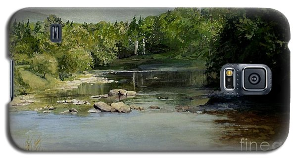 Galaxy S5 Case featuring the painting Summer On The River In Vermont by Laurie Rohner
