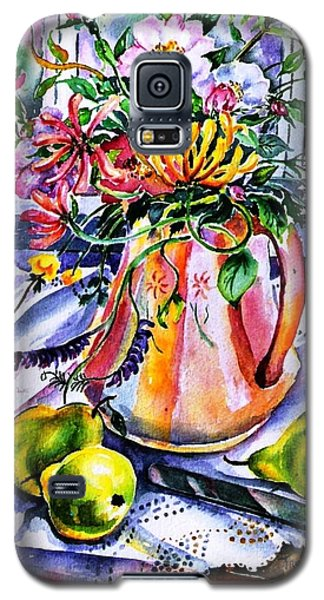Galaxy S5 Case featuring the painting Irish Summer  Wild Flowers - Dog Roses-buttercups-honeysuckle -purple Vetch  by Trudi Doyle