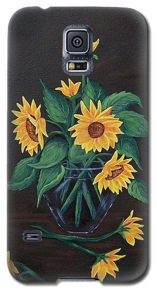 Galaxy S5 Case featuring the painting Sun Flowers  by Sharon Duguay