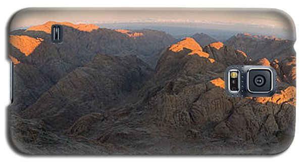 Galaxy S5 Case featuring the photograph Sun Rising On Sinai - Wide Angle Panorama by Julis Simo