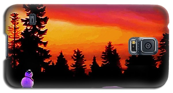 Galaxy S5 Case featuring the painting Sun Setting On Snow by Sophia Schmierer