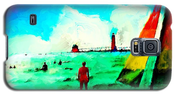 Galaxy S5 Case featuring the painting Sunday At Grand Haven by Ted Azriel