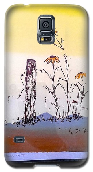 Galaxy S5 Case featuring the painting Sunflower And Fence Post by Richard Benson