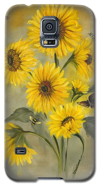 Galaxy S5 Case featuring the painting Sunflower Bouquet by Carol Sweetwood