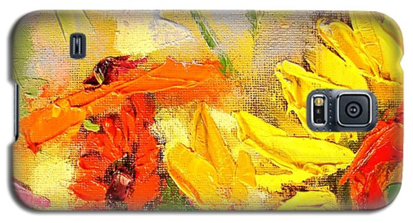 Galaxy S5 Case featuring the painting Sunflower Detail by Ana Maria Edulescu