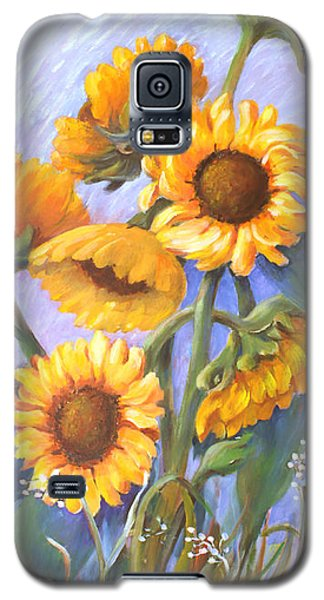 Galaxy S5 Case featuring the painting Sunflower Family by Marta Styk